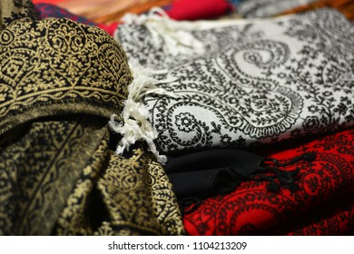 Beautiful decorated fabrics, made of cotton and linen