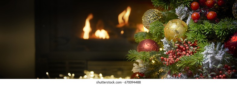 Beautiful decorated fireplace and Christmas tree
