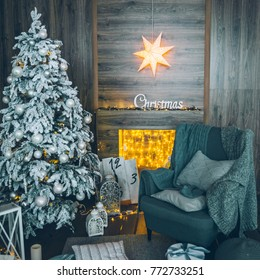 Beautiful decorated fireplace and Christmas tree design concept