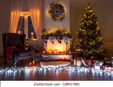 Beautiful decorated living room for christmas