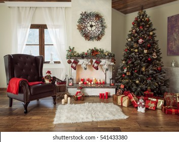 Beautiful decorated living room with a christmas tree and a fire place