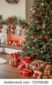 Beautiful decorated living room with a Christmas tree, gifts and a fireplace