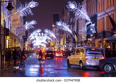 Beautiful decorated New Bond Street in London at Christmas Time - LONDON / ENGLAND - DECEMBER 10, 2016