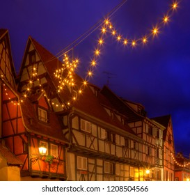 Beautiful decorated street during the winter holiday, located in Colmar,Alsace,France.