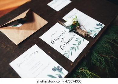 Beautiful decorated wedding invitations
