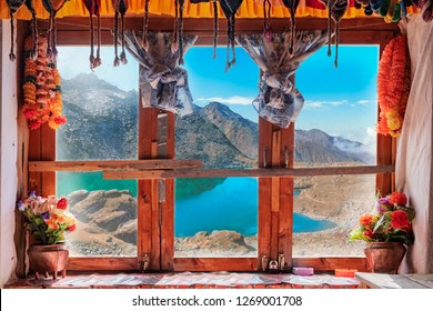 Beautiful decorated window of a restaurant in Nepal with view to Gokyo lake.