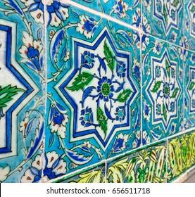 Beautiful decoration inside Topkapi palace. Ancient hand made Turkish - Ottoman tiles. Istambul, Turkey