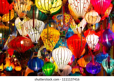 Beautiful of decoration Lanterns light in Night Market of Hoi An, Vietnam.