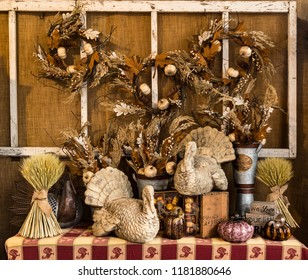 Beautiful Decoration Scene with Turkeys and Wreaths for Holiday Thanksgiving