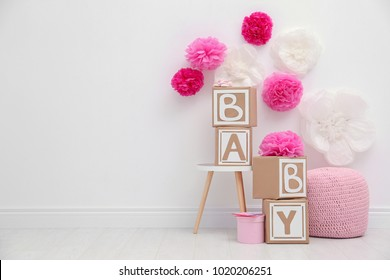 Beautiful decorations for baby shower party in light room