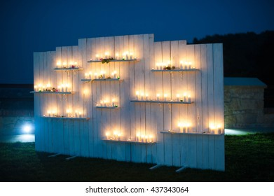 Beautiful decorations for the wedding ceremony, vintage, fashion, candles, exterior