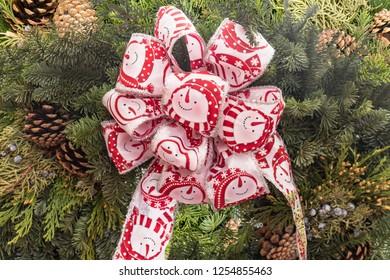 Beautiful Decorative Christmas Bow on Tree Branch Wreath