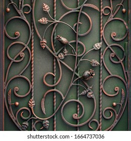 beautiful decorative metal elements forged wrought iron gates.