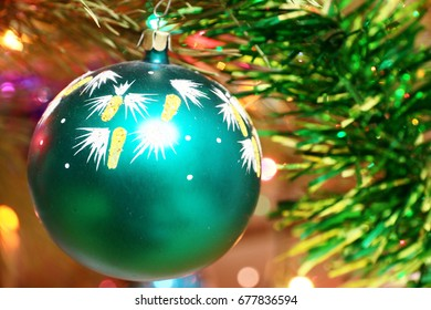 Beautiful decorative multicolored ornaments on a Christmas tree