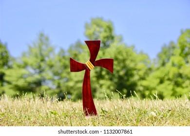 Beautiful decorative wooden cross outdoors