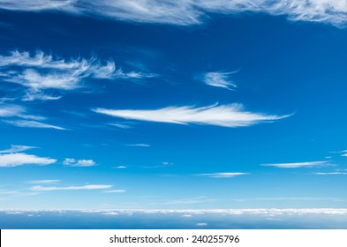 Beautiful deep blue sky with cirrus clouds - nature background