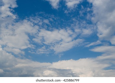 Beautiful deep blue sky with white clouds. Sunny day.