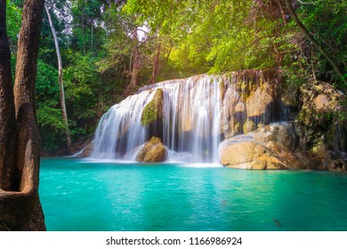 Beautiful deep forest waterfall in Thailand. Erawan Nationnal Park, Kanchanaburi province,Thailand.