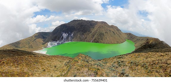 The beautiful deep green colors of Laguna Verde lake in Narino, Colombia.