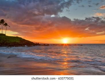 Beautiful and deep sunset at Wailea Beach in Wailea Maui Hawaii