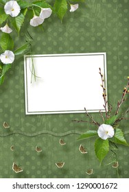 Beautiful delicate bouquet of bindweed and flowering branches with ribbons, butterflies and bows in  style of scrapbook for invitations or greetings
