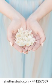 beautiful delicate hands of a girl with jasmine flowers in their hands, Fine art style