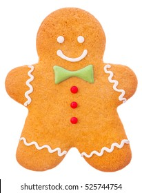 Beautiful and delicious Christmas ginger gingerbread man isolated on white background