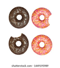 Beautiful delicious donuts with strawberry and chocolate background, photographed in close-up