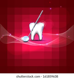 Beautiful dental design. White tooth and mirror. Bright red color, bright and bold design.