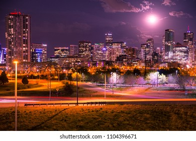 Beautiful Denver Colorado night skyline with lit buildings of downtown