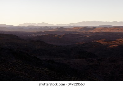 Beautiful Desert landscape in Morocco at sunset