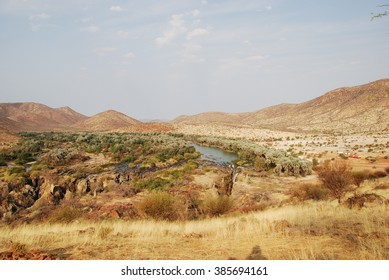 beautiful desert landscape in Namibia at Epupa Falls