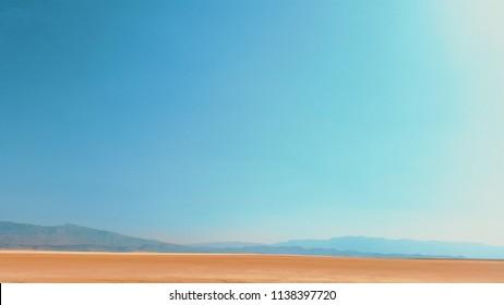 Beautiful Desert Salt Landscape With Blue Sky Location: Shiraz , IRAN