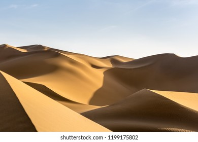 beautiful desert sand dunes at dusk, clipping path included