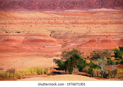 Beautiful desert view, barren multicolored hills in red, pink, purple and yellow colors, few trees and dry grass in Southern Morocco, North West Africa.