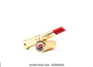 Beautiful design of colorful lipstick makeup for women who love beauty isolated on white background.