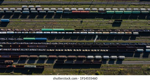 Beautiful design composition of Aerial Top view to trains railway industrial cylindrical tank shipping containers Rail way art Artistic composition railroads and freight trains to transport cargo.