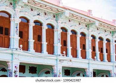 The beautiful design of a typical rich Baba home at Pinang Peranakan Mansion, Penang, Malaysia.