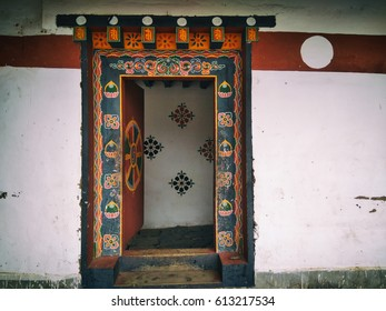 Beautiful designed gate in traditional Dzong architecture