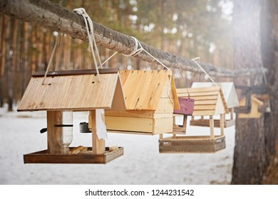 Beautiful designer birdhouses, on a background of snow on a sunny day. Feeding birds in winter