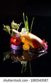 beautiful dessert on a black background