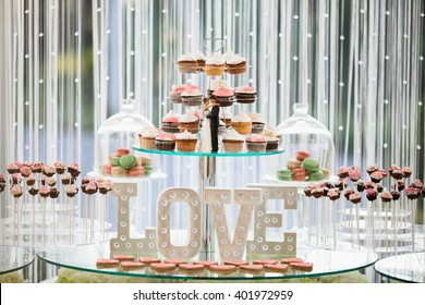 Beautiful dessert table in restaurant
