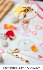 Beautiful dessert for Valentine's day - ice cream with orange