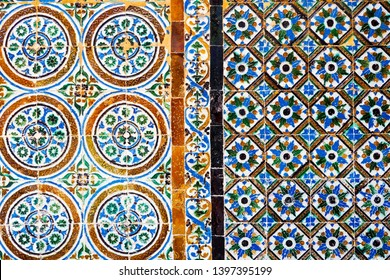 A beautiful detail of ancient mosaic tile on the wall