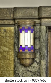 Beautiful detail of an art deco type of lamp, in a very colorful composition