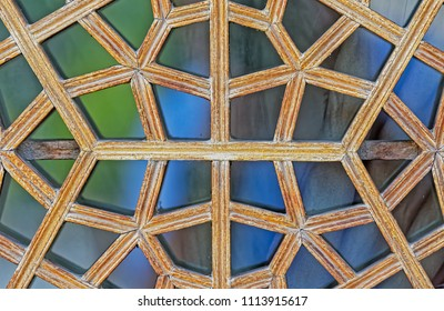 Beautiful detail of the wooden window in the persian palace in Isfahan Iran.