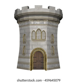 Beautiful detailed castle tower isolated in white background - 3D render