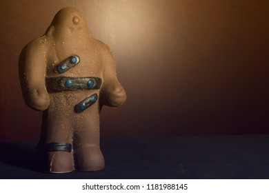 Beautiful and detailed clay figure of Golem inspired by the creature from the