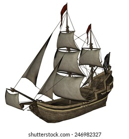 Beautiful detailed Smirking Mermaid, a Pirate Ship, isolated in white background - 3D render