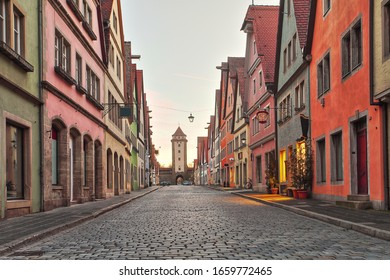 Schöne Deutsche Straße eines rothenburg ob der tauber